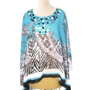 Soft Surroundings Turquoise Beaded Caftan One Size